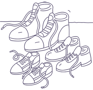 Illustration of three pairs of shoes.